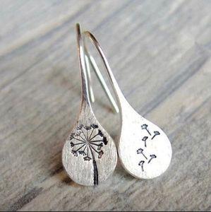 Dandelion Hook Teardrop Earrings - Silver